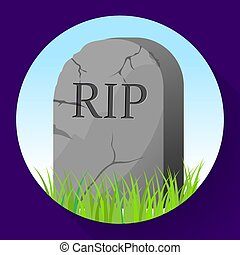ünnepély, illustration., style., temetés, karikatúra, vektor, ikon, fejfa, jelkép, részvény