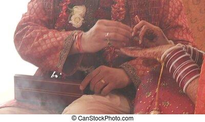 ünnepély, indiai, esküvő