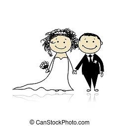 ünnepély, lovász, -, együtt, menyasszony, tervezés, esküvő,...