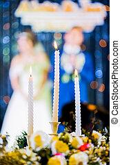 Ünnepély, menyasszony, lovász, gyertya, esküvő