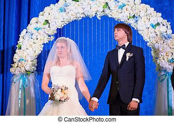 ünnepély, menyasszony, lovász