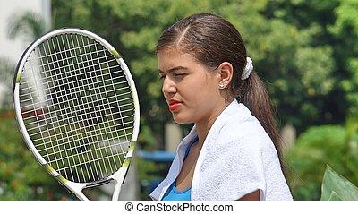 ünnepélyes, női, teniszjátékos