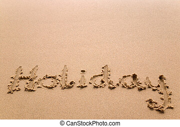 ünnep, alatt, homok, horizontális