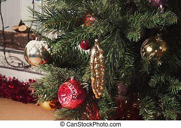 ünnep, christmas fa, lakberendezési tárgyak