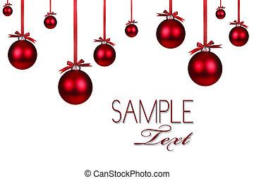 ünnep, díszítés, karácsony, háttér, piros