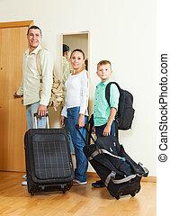 ünnep, három, poggyász, család, haladó