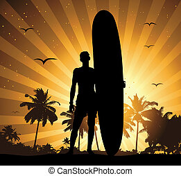 ünnep, nyár, szörfdeszka, ember