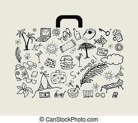 ünnep, nyár, tervezés, -e, bőrönd