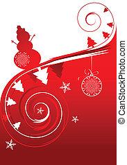 ünnep, tél, kártya, karácsony