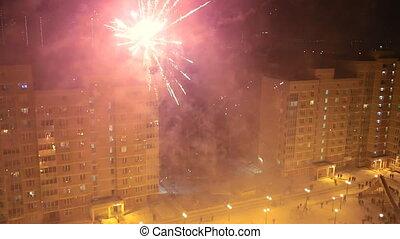 ünnepek, tűzijáték, alatt, closeup