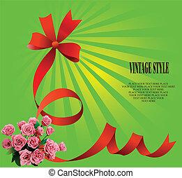ünnepies, íj, agancsrózsák, zöld háttér, piros
