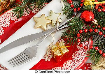 ünnepies, asztal letesz, noha, piros tányér