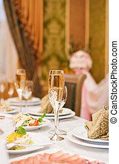 ünnepies, esküvő, asztal, helyett, vacsora, -ban, a, étterem