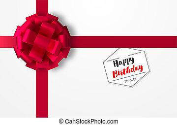 ünnepies, piros vonó, képben látható, szekrény, noha, egy, gift., egy, címke, noha, egy, kíván, helyett, egy, boldog, birthday., gyakorlatias, vektor, ábra