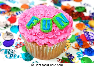 ünneplés, cupcake, -, móka