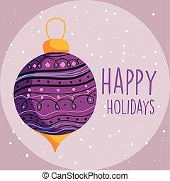 ünneplés, labda, hó, bíbor, vidám christmas, dekoráció