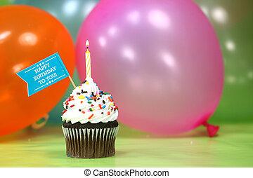 ünneplés, noha, léggömb, gyertya, és, torta