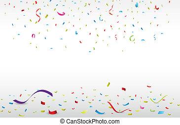 ünneplés, noha, színes, konfetti