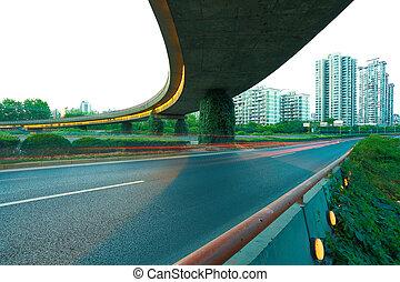 üres, út, emelet, noha, modern, város, viadukt