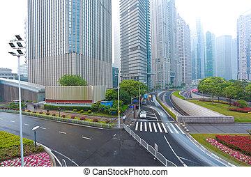 üres, út, noha, modern, város, építészet, háttér