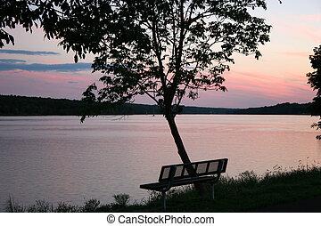 üres, bírói szék, -ban, napnyugta