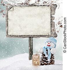 üres, fából való, aláír, alatt, tél, kedélyállapot