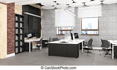 üres hivatal, munka felad, megjelenítés