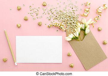 üres, kártya, noha, boríték, fénylik, sequins, konfetti,...