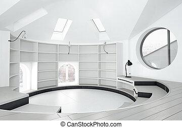 üres, könyvtár, szoba