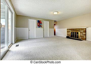 üres, kandalló, szoba, walkout, fedélzet