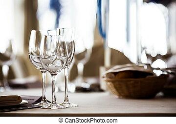 üres, szemüveg, állhatatos, alatt, étterem