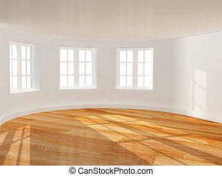 üres szoba, noha, csaholás ablak