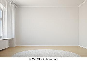 üres szoba, noha, függöny, és, szőnyeg