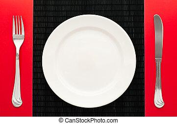 üres, tányér, noha, villa, és, kés