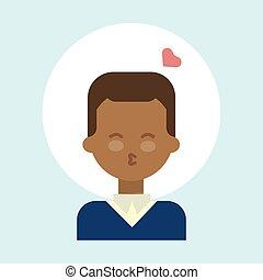 ütés, érzelem, bábu arc, amerikai, arcél, csókol, afrikai, ikon, portré, mosolygós, hím, karikatúra, boldog