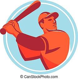 üt, baseball, retro, ütőjátékos, karika, ütőkezelés