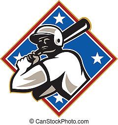 üt, gyémánt, baseball, retro, hitter