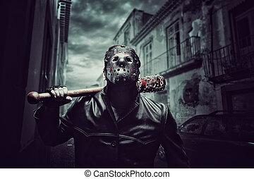 üt, maszk, véres, baseball, jégkorong, lelkibeteg, ember