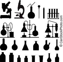 üvegáru, ikonok, kémiai, set.