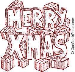 üzenet, vektor, karácsony, vidám