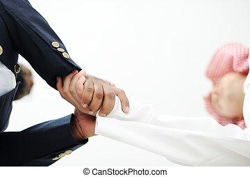 üzlet, ügy emberek, felett, closeup, kezezés reszkető
