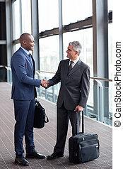 üzlet utazó, gyűlés, -ban, repülőtér