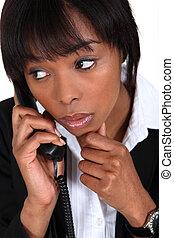 üzletasszony, érintett, hívás, bevétel, telefon