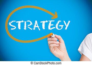 üzletasszony, írás, a, szó, stratégia