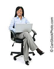üzletasszony, ül hivatal, szék, noha, számítógép