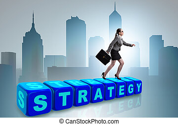 üzletasszony, alatt, stratégia, ügy fogalom