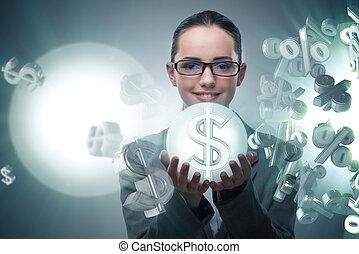 üzletasszony, amerikai, fogalom, dollár