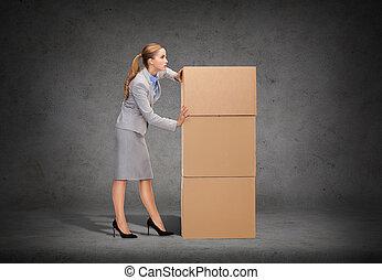 üzletasszony, bástya, elfoglalt, rámenős, kartonpapír
