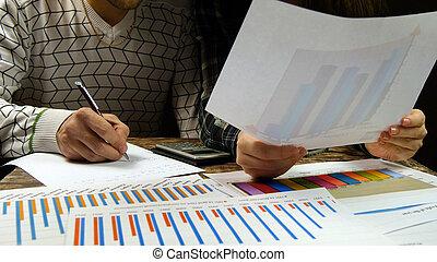 üzletasszony, bevétel, fiatal, ábra, elemzés, számítások, üzletember, fajta híres