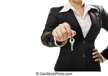 üzletasszony, birtok, kulcs